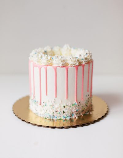 Celebration cake with pink drip