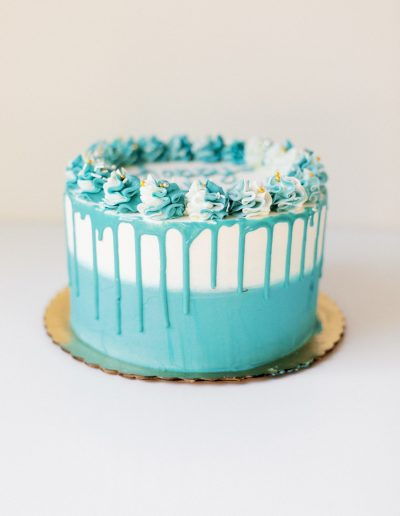Teal drip cake